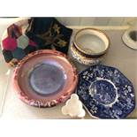Losol ware plant pot, Worcester dish, Wedgwood plate, tea cosy etc.