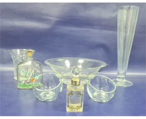 Holmegaard painted decanter, silver mounted cut glass scent bottle and other modern glassware