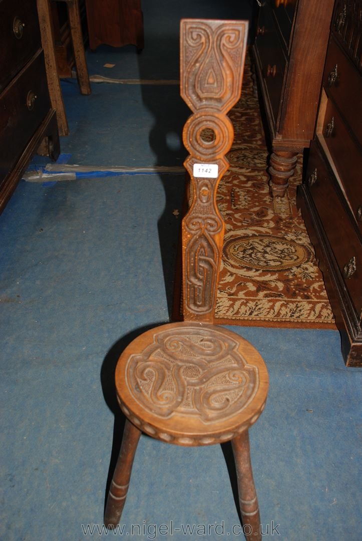 Lot 1142 - A three legged Spinning Chair with Celtic style carved decoration - A Three Legged Spinning Chair With Celtic Style Carved Decoration