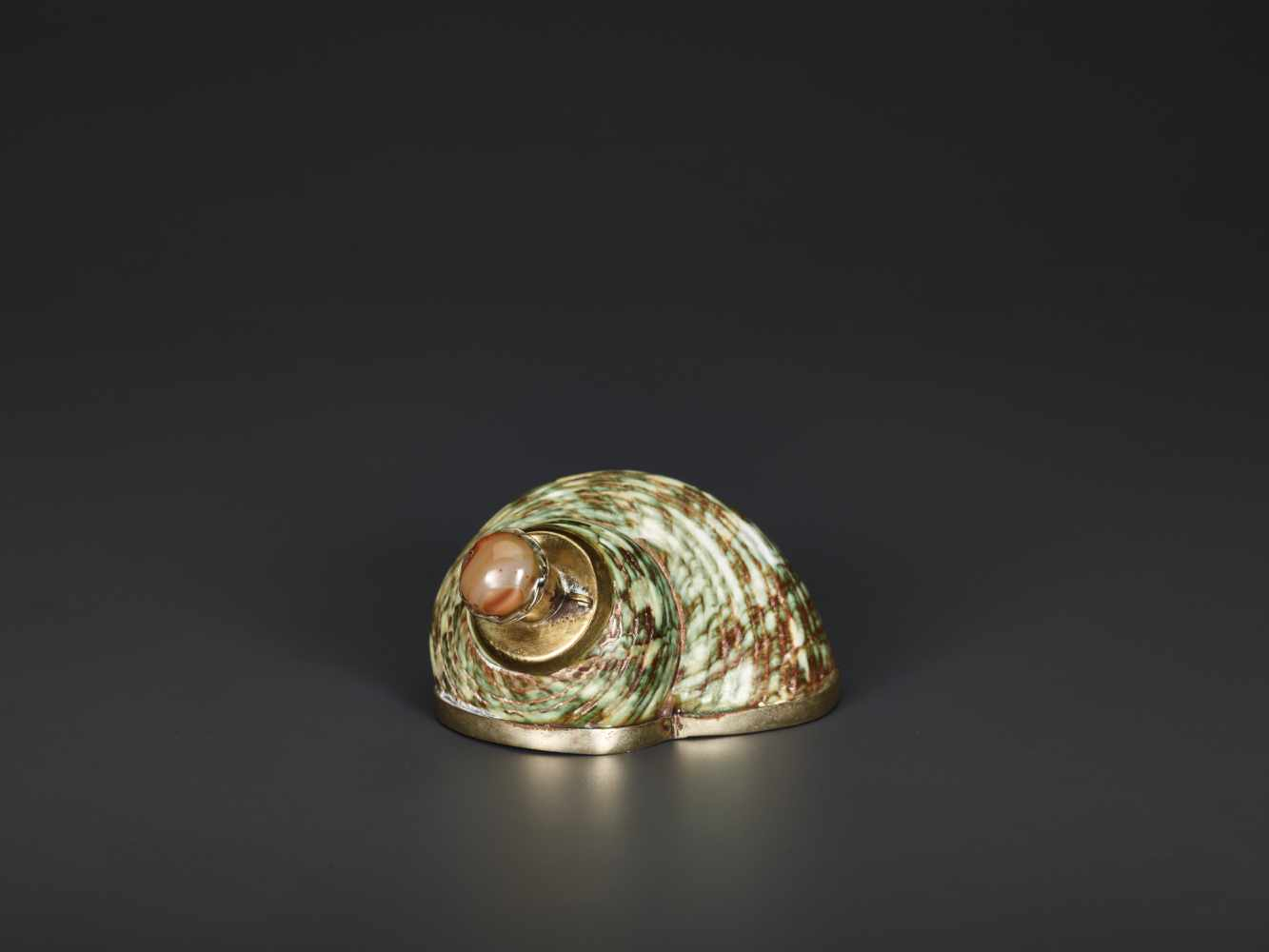 TURBO CONCH PERFUME CONTAINER WITH AGATE STOPPER, 19th CENTURYTurbo conch, silver plate metal and - Image 5 of 6