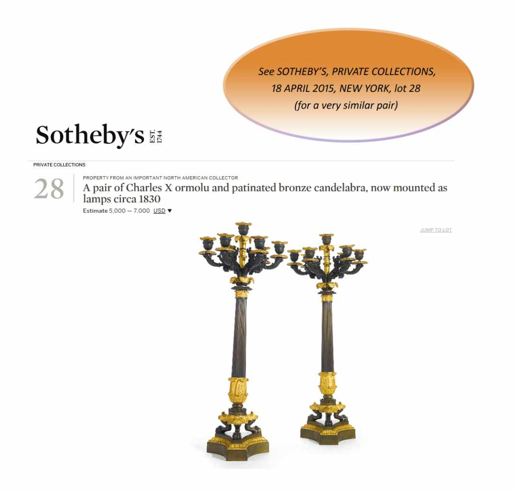A LARGE PAIR OF CHARLES X BRONZE AND ORMOLU SIX-LIGHT CANDELABRA, 1820sPatinated and fire gilt - Image 2 of 8