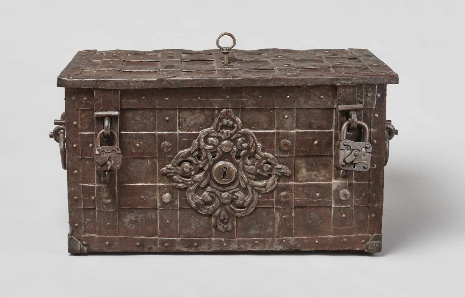 A 17th CENTURY GERMAN WROUGHT IRON 'ARMADA' CHEST WITH MERMAIDSWrought iron, paintGermany17th