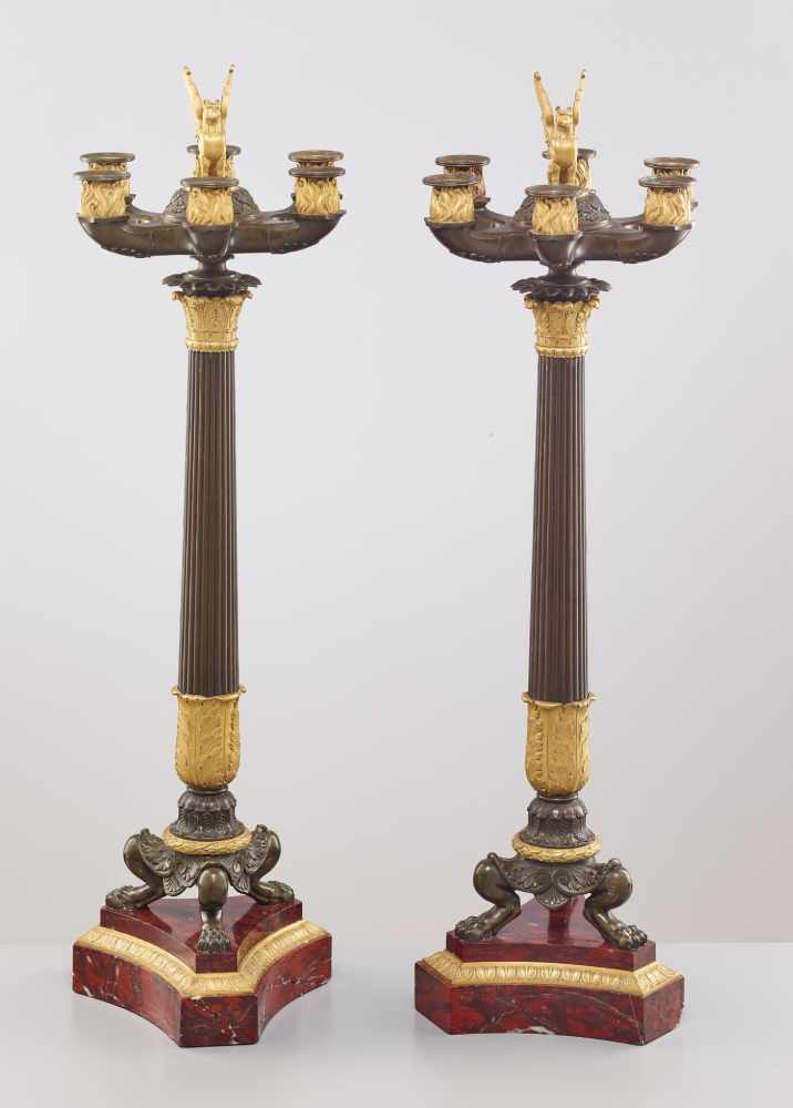 A LARGE PAIR OF CHARLES X BRONZE AND ORMOLU SIX-LIGHT CANDELABRA, 1820sPatinated and fire gilt - Image 6 of 8