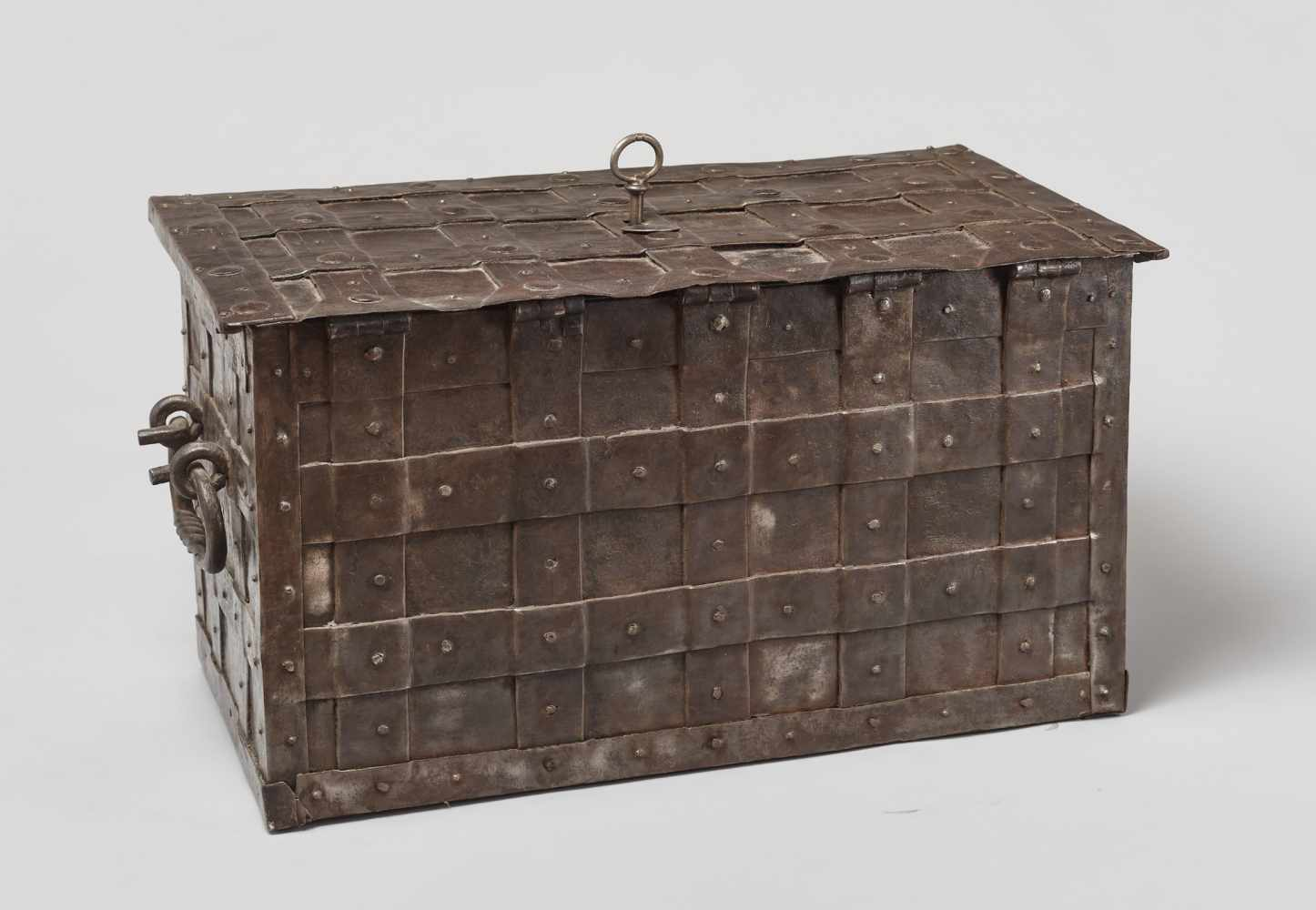 A 17th CENTURY GERMAN WROUGHT IRON 'ARMADA' CHEST WITH MERMAIDSWrought iron, paintGermany17th - Image 11 of 16