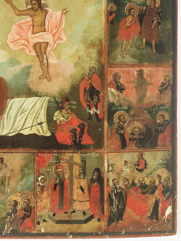LARGE RUSSIAN ICON 'RESURRECTION AND THE TWELVE GREAT FEASTS', 19th CENTURYWood, polychrome egg - Image 4 of 5