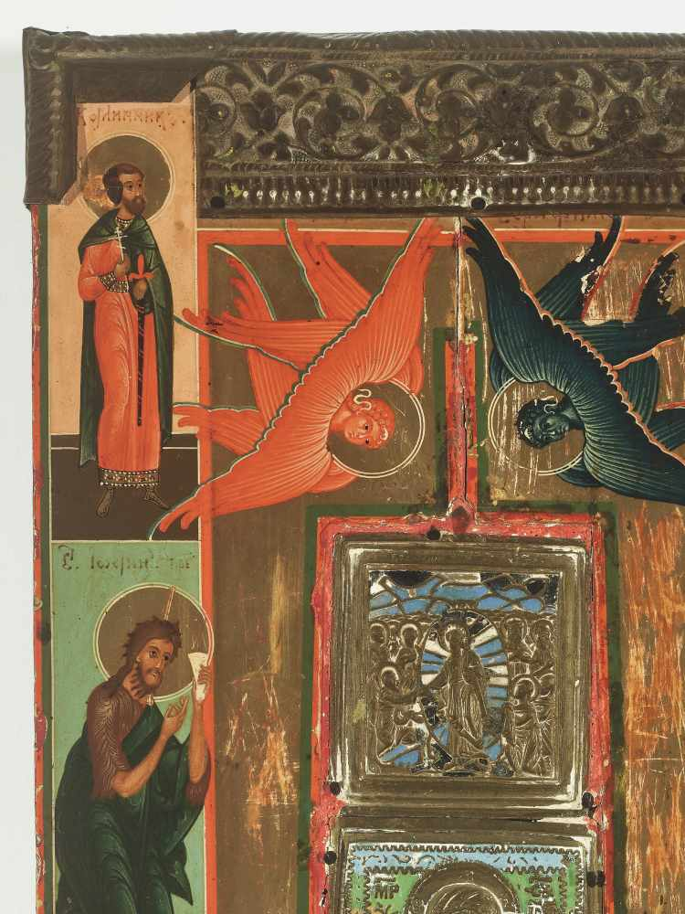 RARE RUSSIAN ICON WITH BRASS AND ENAMEL INLAYS AND OKLAD, 19th CENTURYWood, polychrome egg tempera - Image 2 of 4