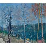 ARNOLD CLEMENTSCHITSCH (1887-1970, OIL PAINTING 'TREES AT A LAKE' 1947Arnold Clementschitsch (1887-