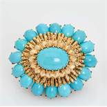 A DAVID WEBB 18 CARAT GOLD AND TURQUOISE 'SOLEIL' BROOCHNew York, USAca. 1960, signed 'WEBB' on
