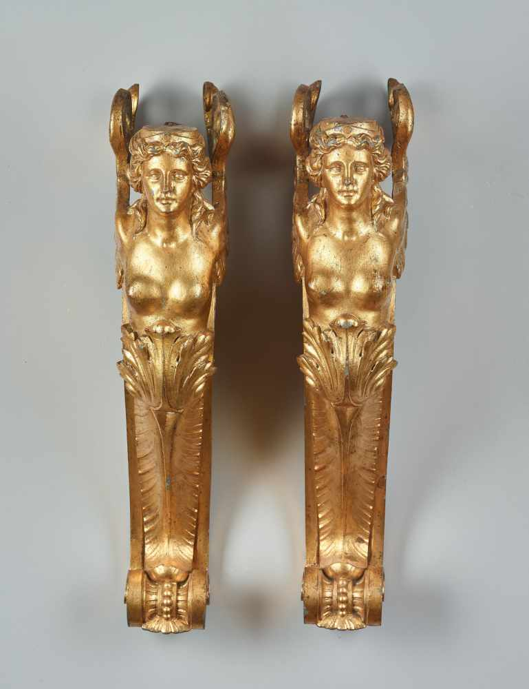 A LARGE VIENNESE PAIR OF 19TH CENTURY GILT CARYATIDSWhite metal with gold lacquer - Image 4 of 6