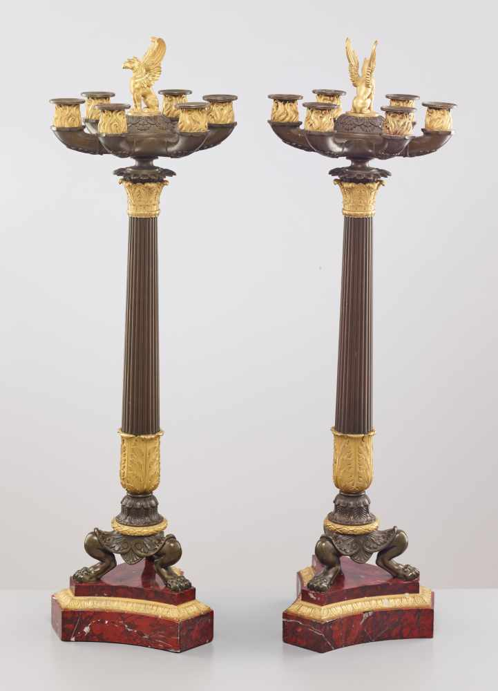 A LARGE PAIR OF CHARLES X BRONZE AND ORMOLU SIX-LIGHT CANDELABRA, 1820sPatinated and fire gilt - Image 7 of 8