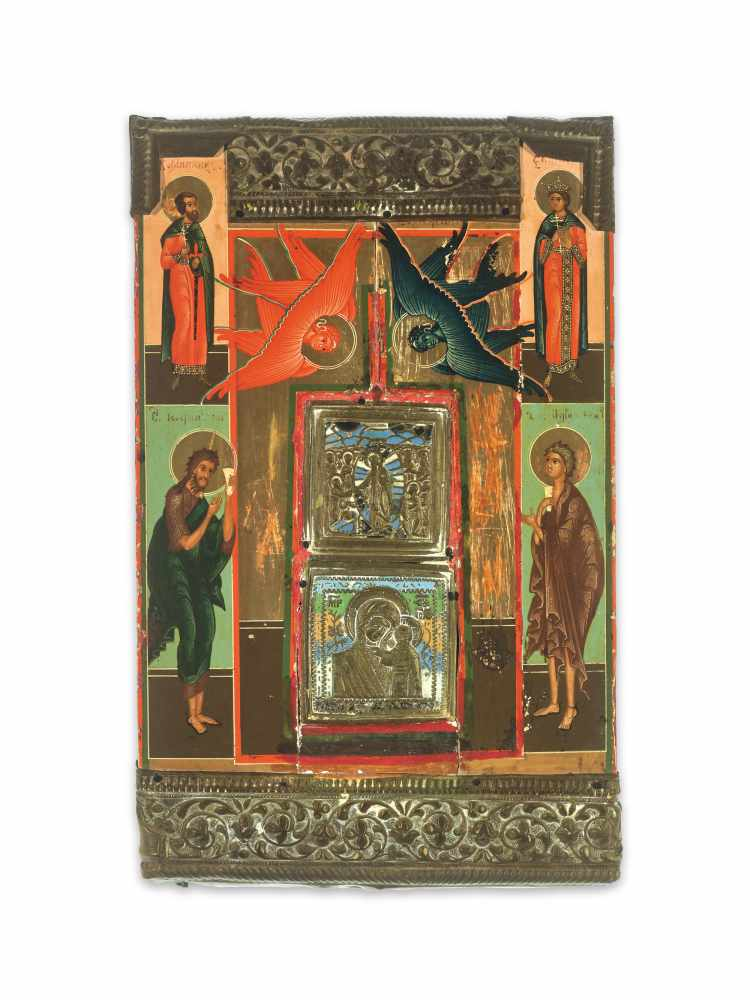 RARE RUSSIAN ICON WITH BRASS AND ENAMEL INLAYS AND OKLAD, 19th CENTURYWood, polychrome egg tempera