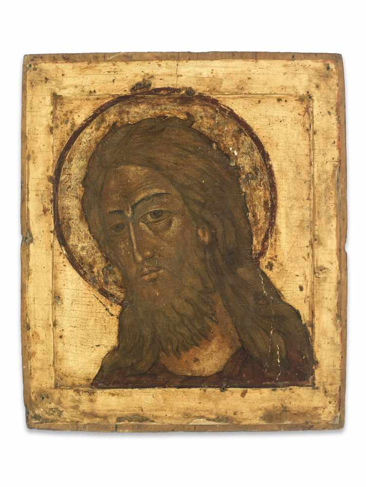 RUSSIAN ICON WITH PORTRAYAL OF JESUS CHRIST, 19th CENTURYWood, polychrome egg temperaRussia19th