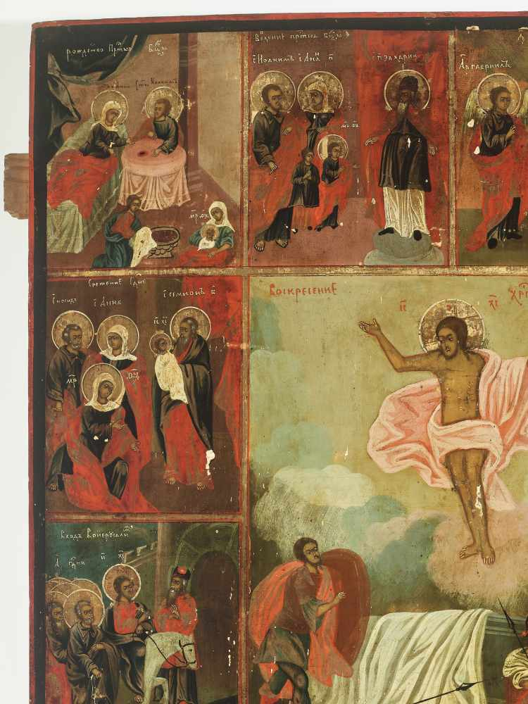 LARGE RUSSIAN ICON 'RESURRECTION AND THE TWELVE GREAT FEASTS', 19th CENTURYWood, polychrome egg - Image 3 of 5