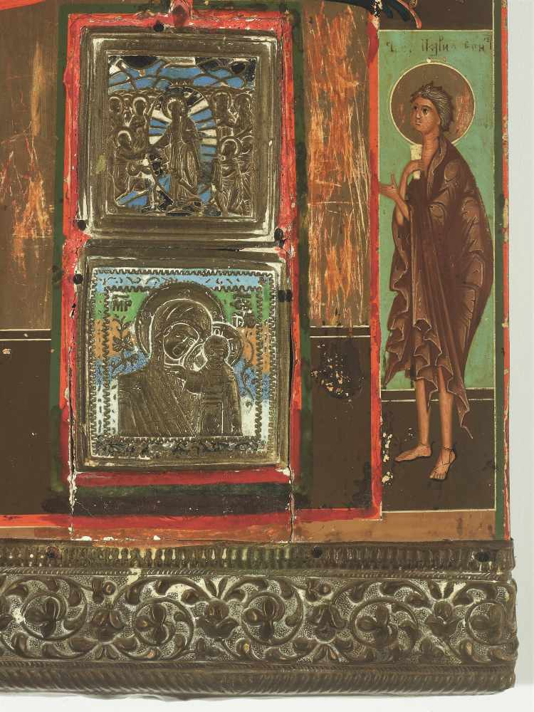 RARE RUSSIAN ICON WITH BRASS AND ENAMEL INLAYS AND OKLAD, 19th CENTURYWood, polychrome egg tempera - Image 3 of 4