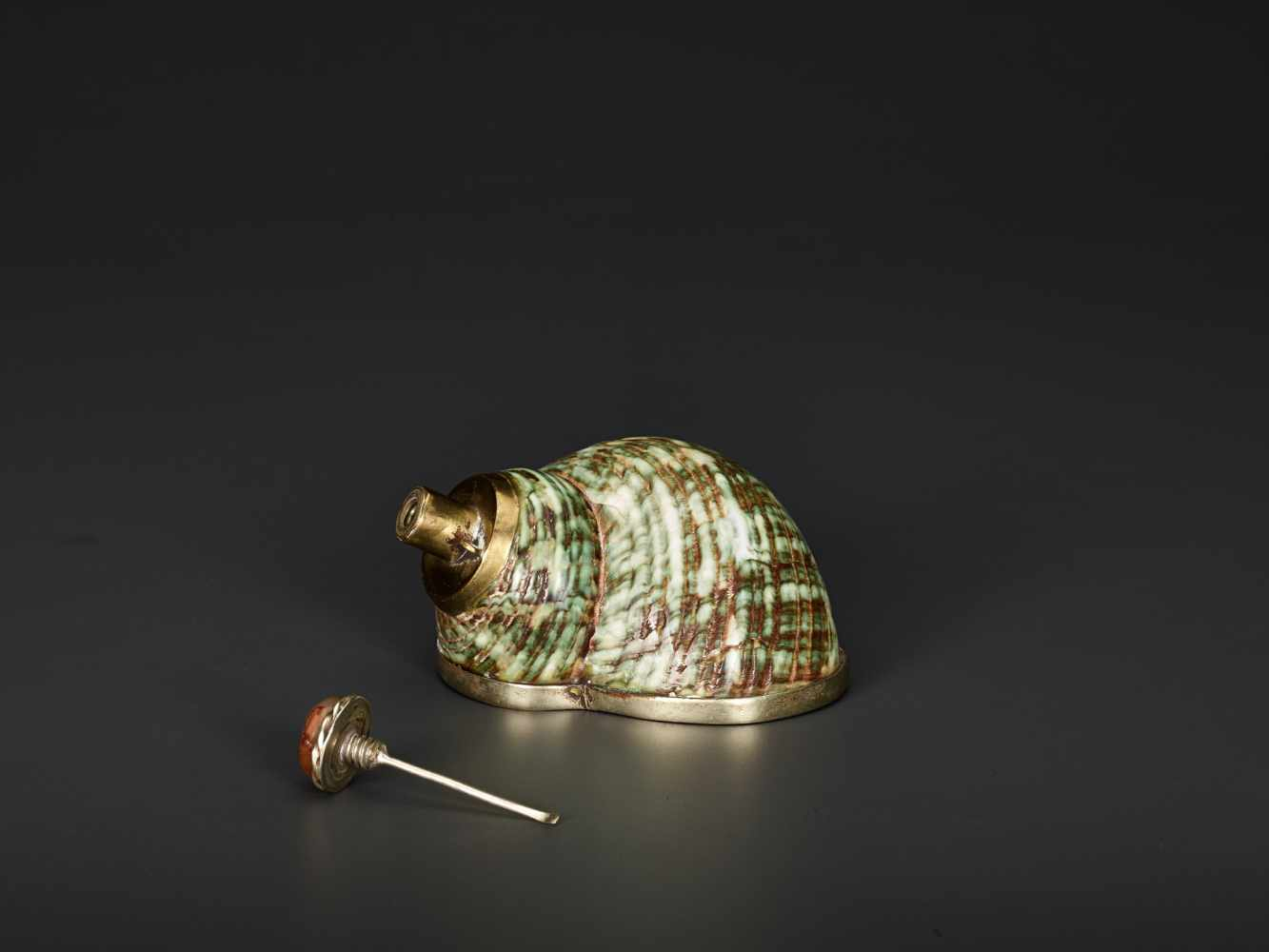 TURBO CONCH PERFUME CONTAINER WITH AGATE STOPPER, 19th CENTURYTurbo conch, silver plate metal and - Image 2 of 6