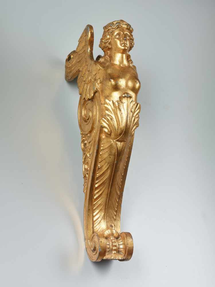 A LARGE VIENNESE PAIR OF 19TH CENTURY GILT CARYATIDSWhite metal with gold lacquer - Image 5 of 6