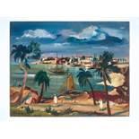 FRANZ HECKENDORF (1888-1962), OIL ON PANEL 'MEDITERRANEAN LANDSCAPE' 1932Franz Heckendorf (1888-