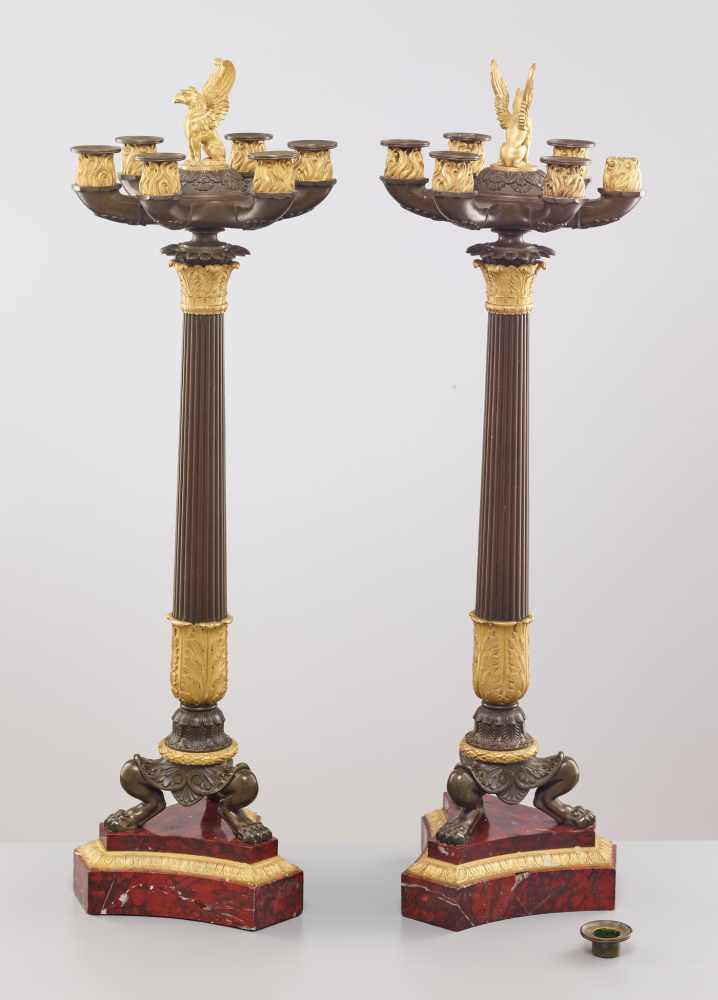 A LARGE PAIR OF CHARLES X BRONZE AND ORMOLU SIX-LIGHT CANDELABRA, 1820sPatinated and fire gilt - Image 8 of 8