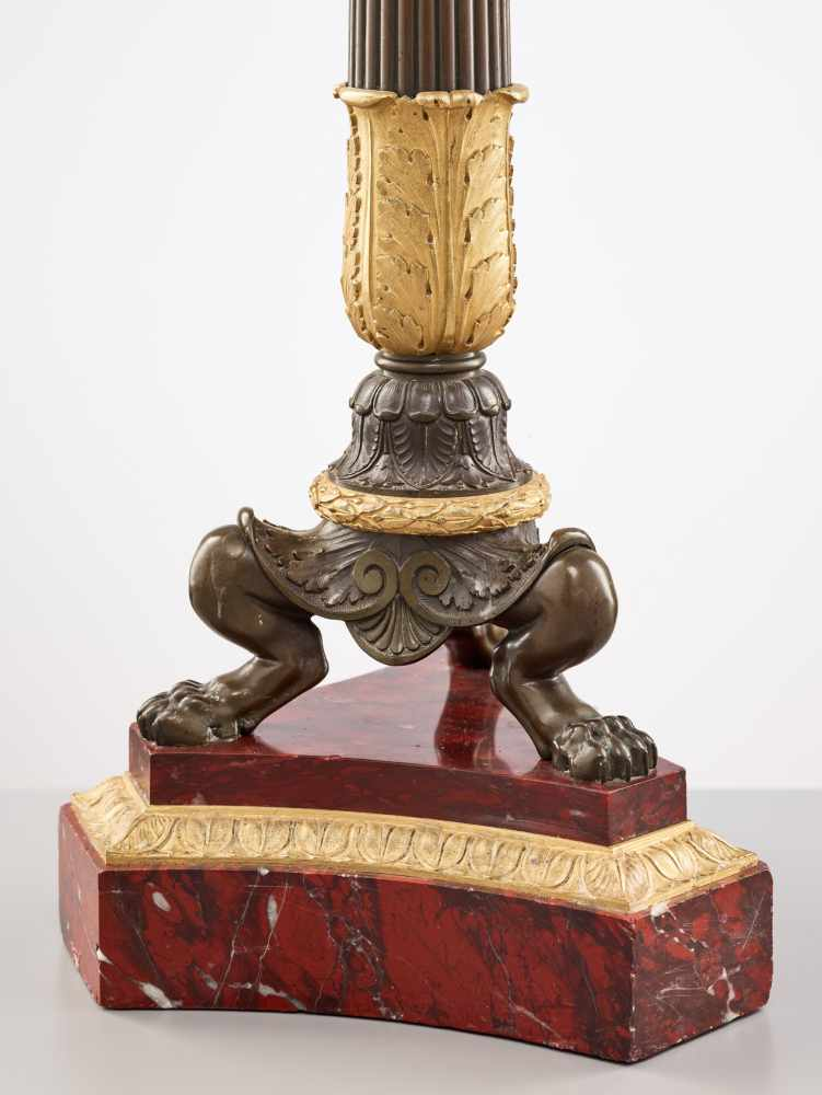 A LARGE PAIR OF CHARLES X BRONZE AND ORMOLU SIX-LIGHT CANDELABRA, 1820sPatinated and fire gilt - Image 4 of 8
