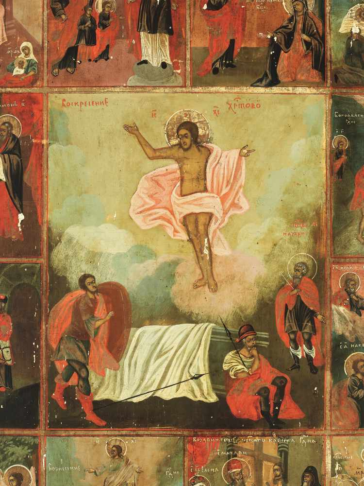 LARGE RUSSIAN ICON 'RESURRECTION AND THE TWELVE GREAT FEASTS', 19th CENTURYWood, polychrome egg - Image 2 of 5