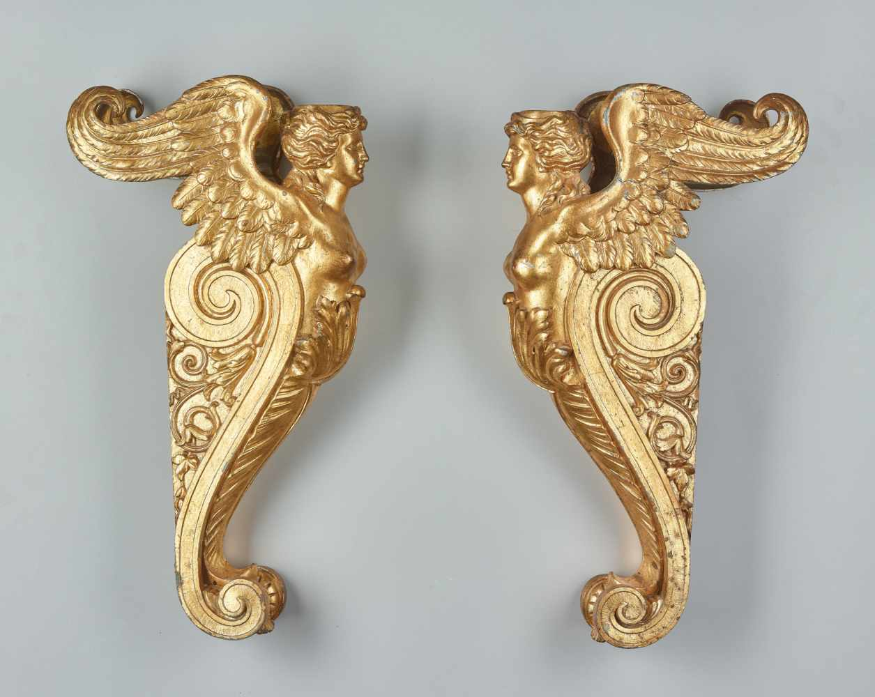 A LARGE VIENNESE PAIR OF 19TH CENTURY GILT CARYATIDSWhite metal with gold lacquer - Image 3 of 6