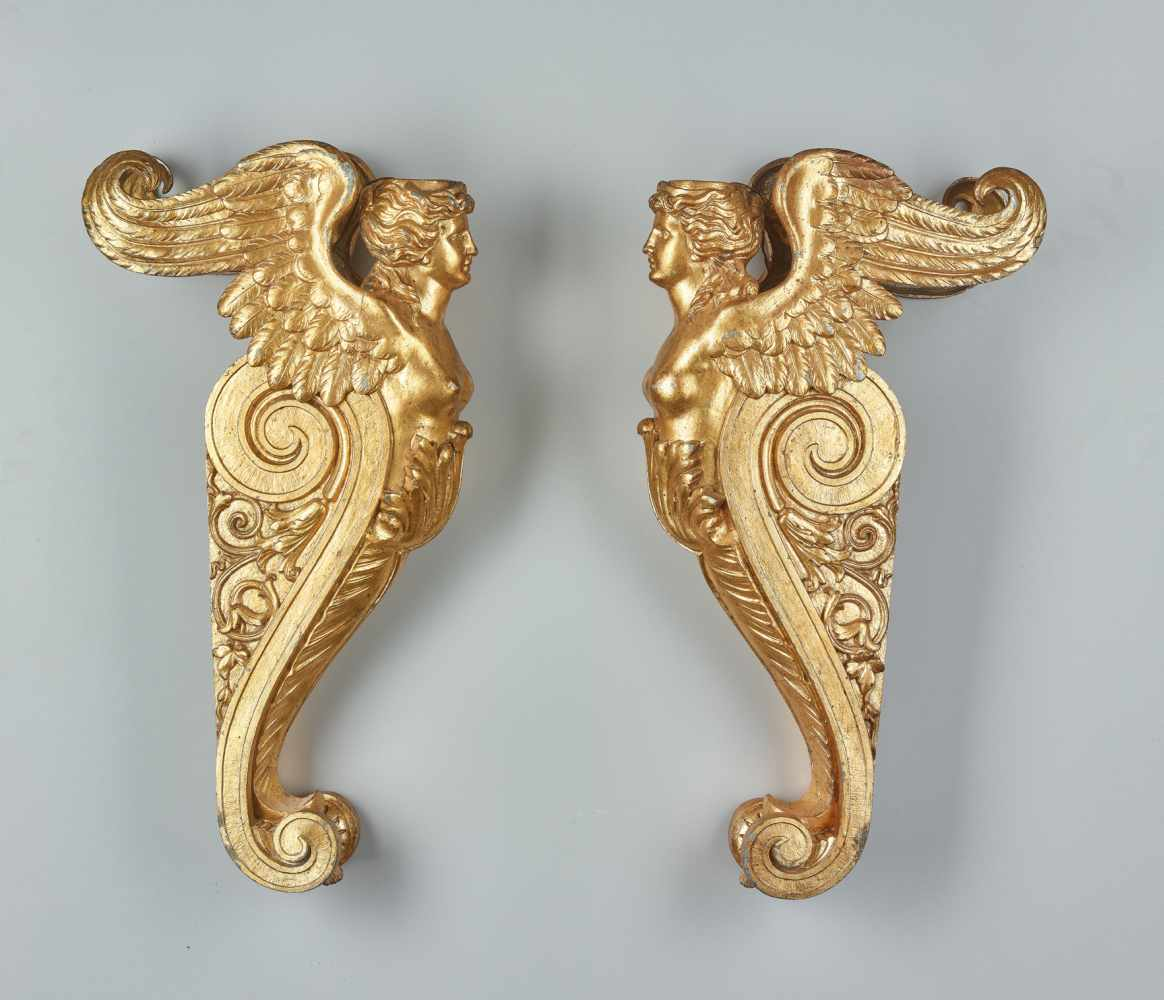 A LARGE VIENNESE PAIR OF 19TH CENTURY GILT CARYATIDSWhite metal with gold lacquer