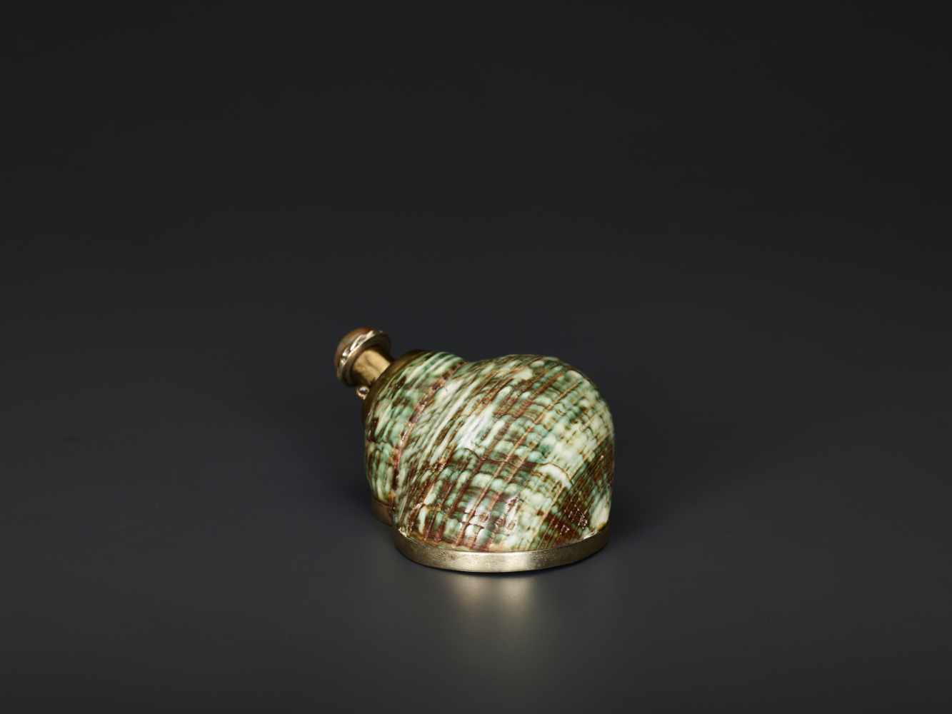 TURBO CONCH PERFUME CONTAINER WITH AGATE STOPPER, 19th CENTURYTurbo conch, silver plate metal and - Image 3 of 6