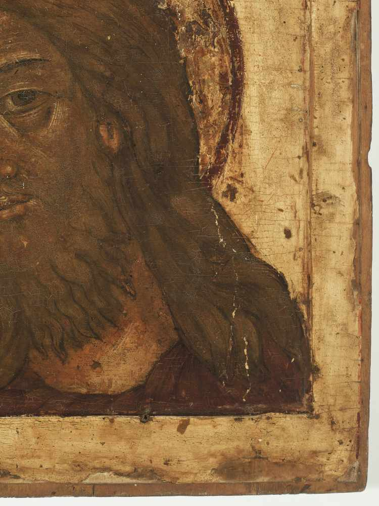 RUSSIAN ICON WITH PORTRAYAL OF JESUS CHRIST, 19th CENTURYWood, polychrome egg temperaRussia19th - Image 3 of 4