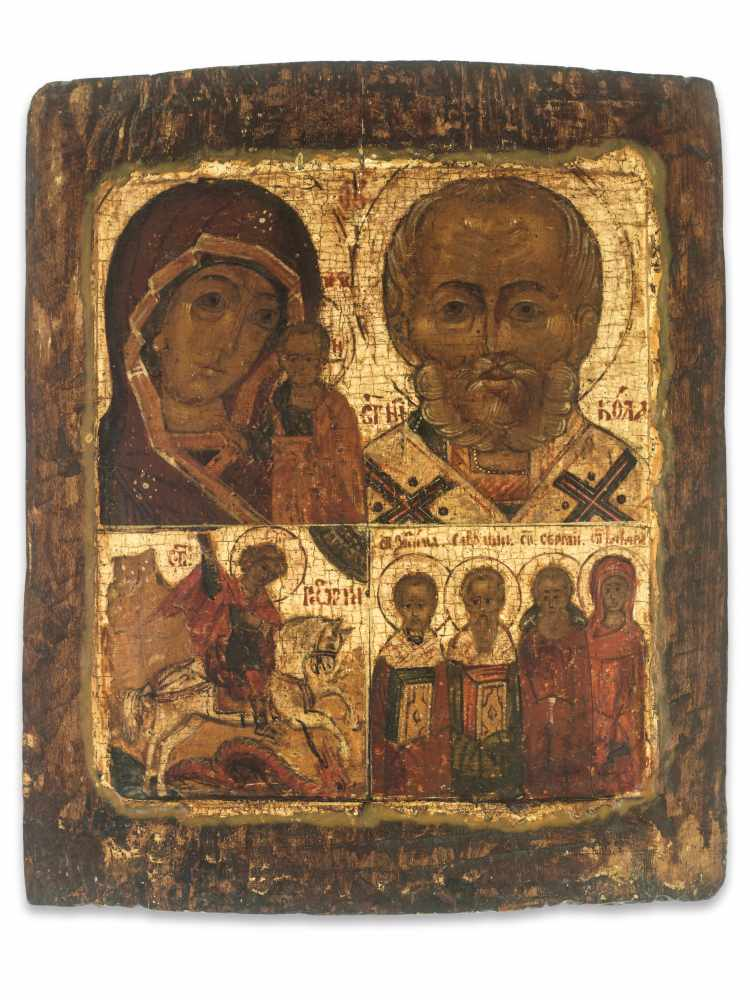 QUADRIPARTITE ICON WITH MARY AND JESUS, SAINTS NICOLAS AND GEORGE, 19th CENTURYWood, polychrome