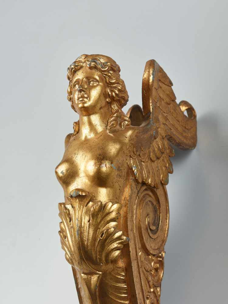 A LARGE VIENNESE PAIR OF 19TH CENTURY GILT CARYATIDSWhite metal with gold lacquer - Image 2 of 6