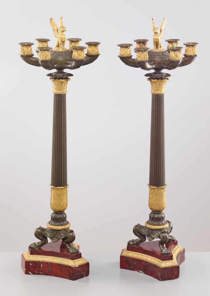 A LARGE PAIR OF CHARLES X BRONZE AND ORMOLU SIX-LIGHT CANDELABRA, 1820sPatinated and fire gilt - Image 5 of 8