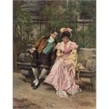 JOHANN HAMZA (1850-1925), OIL ON PANEL 'FALLING IN LOVE'Johann Hamza (1850-1925)Oil on