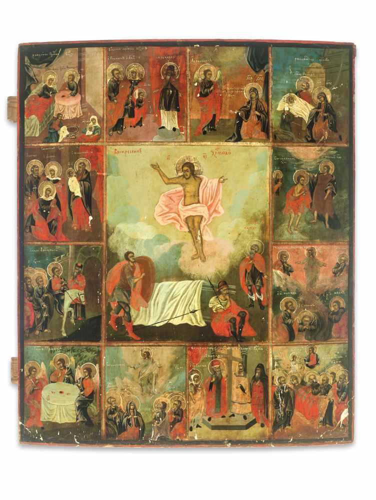 LARGE RUSSIAN ICON 'RESURRECTION AND THE TWELVE GREAT FEASTS', 19th CENTURYWood, polychrome egg