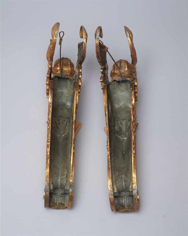 A LARGE VIENNESE PAIR OF 19TH CENTURY GILT CARYATIDSWhite metal with gold lacquer - Image 6 of 6