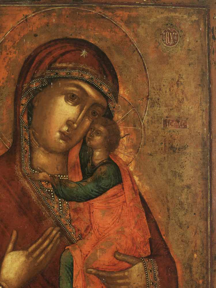 LARGE RUSSIAN 'ELEUSA' ICON, VIRGIN OF TENDERNESS, 19th CENTURYWood, polychrome egg - Image 2 of 4