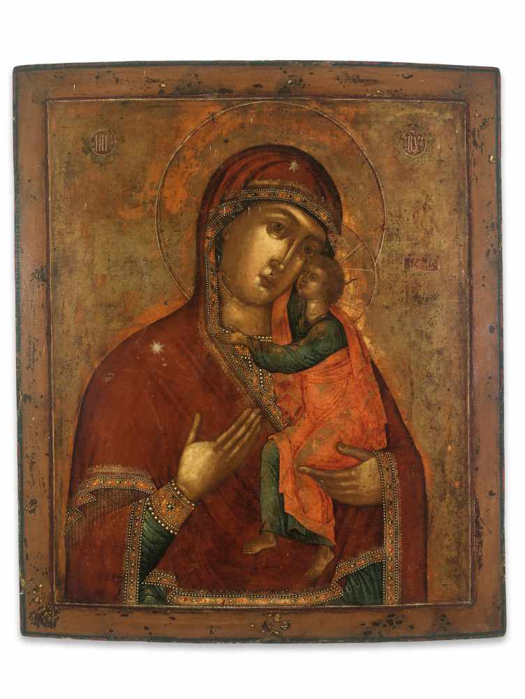 LARGE RUSSIAN 'ELEUSA' ICON, VIRGIN OF TENDERNESS, 19th CENTURYWood, polychrome egg