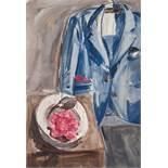 BRIGITTE BRUCKNER-MIKL (born 1963), OIL ON PAPER 'STILL LIFE WITH BLUE JACKET', 1993Brigitte