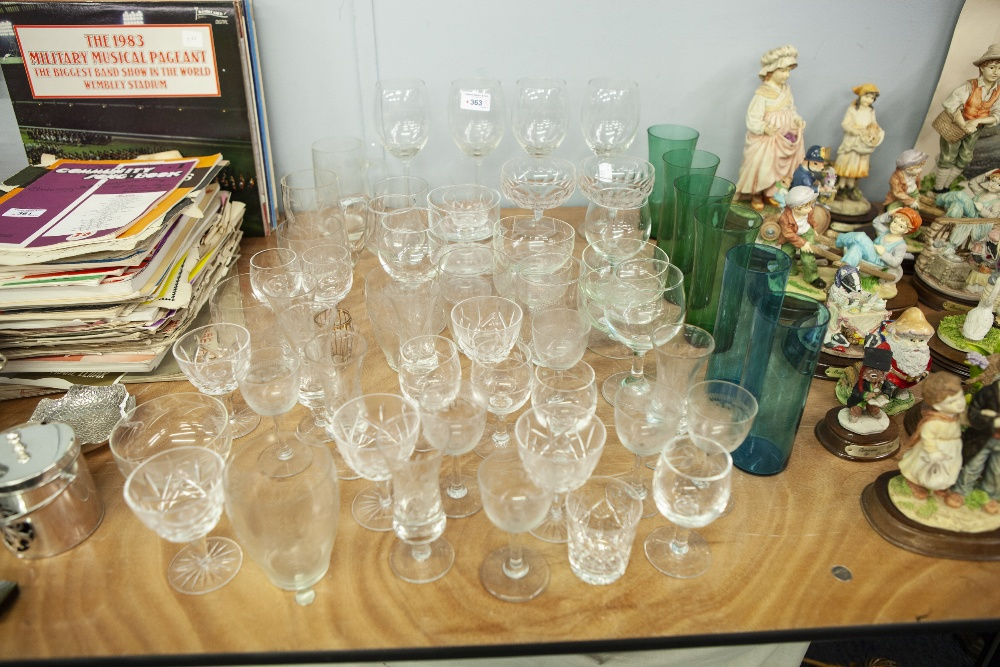 Lot 363 - A QUANTITY OF CUT AND MOULDED STEM WINE GLASSES TO INCLUDE; CHAMPAGNE GLASSES, VARIOUS ENGRAVED