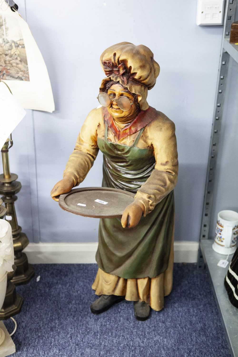 """Lot 263 - LARGE COMPOSITION FIGURE OF A LADY COOK 39"""" HIGH"""