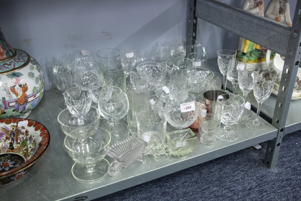 Lot 266 - A QUANTITY OF CUT GLASS AND OTHER DRINKING GLASSES, SUNDAE DISHES AND TWO PINT TANKARDS, SALTS