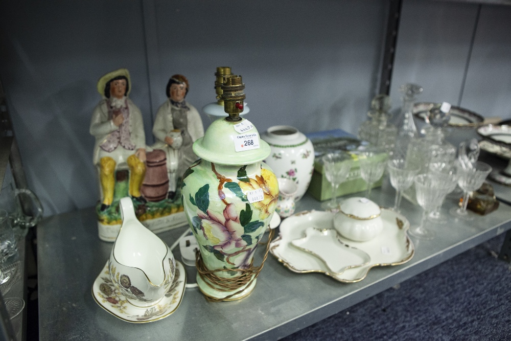 Lot 268 - MALING LUSTRE FLORAL PATTERN POTTERY TABLE LAMP, THREE GLASS DECANTERS, WINE GLASSES, WEDGWOOD '
