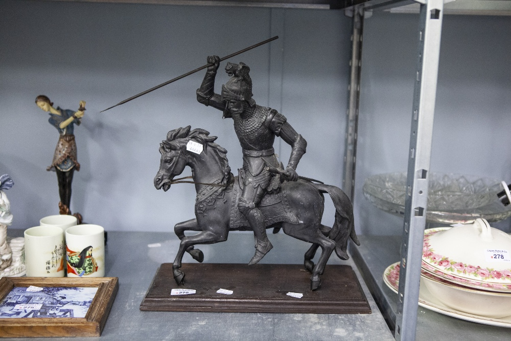 Lot 276 - A CAST IRON STATUE OF A KNIGHT, ON STEED HOLDING A SPEAR ALOFT AND A SWORD ON WOODEN PLINTH BASE