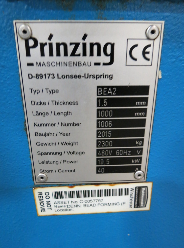 "2015 Prinzing BEA-2 Bead Forming Machine, 39.37 x .059"" - Image 3 of 15"