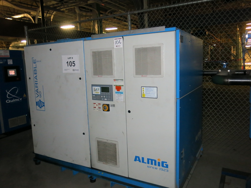 Lot 105 - 2014 Almig Variable Speed Rotary Screw Air Compressor Model 90/125