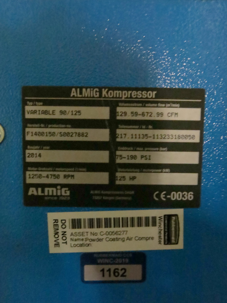 Lot 104 - 2014 Almig Variable Speed Rotary Screw Air Compressor Model 90/125