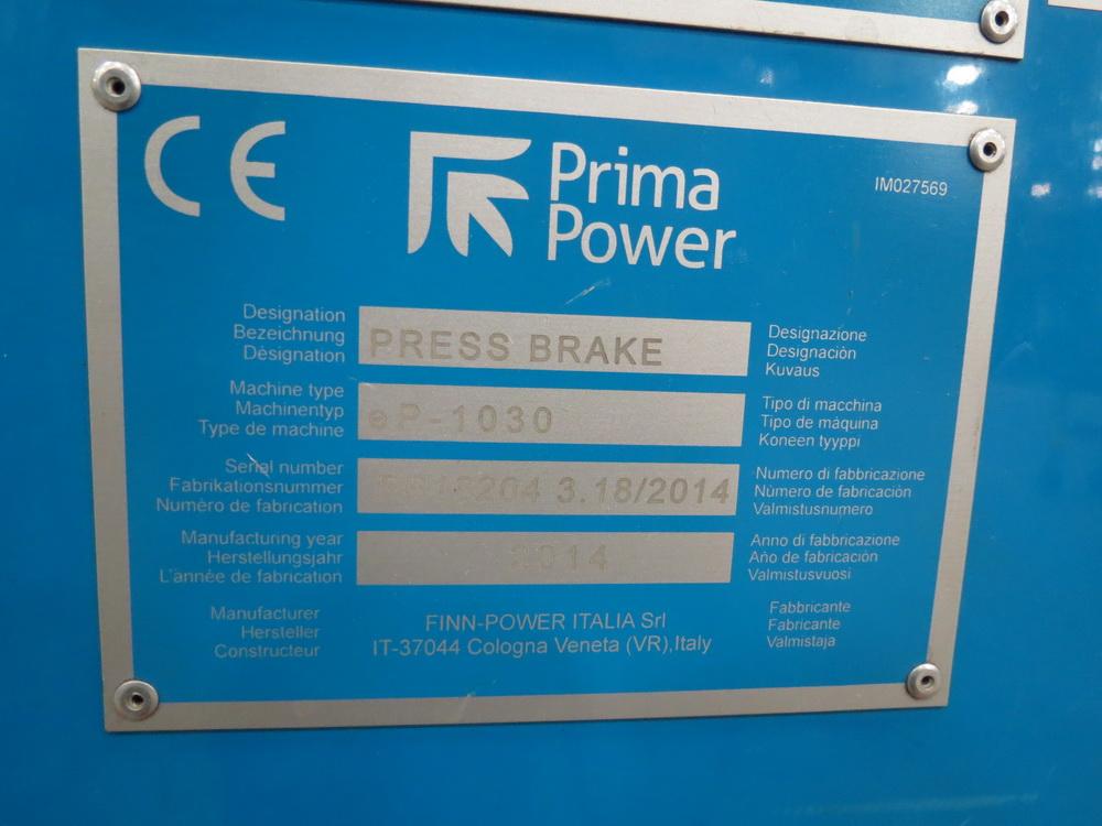 2014 Prima EP1030 3 Meter Electric Servo Press Brake - Image 14 of 14