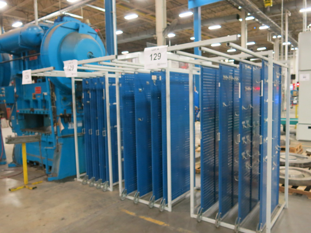 Lot 129 - Lot of (3) Pull Out Space Saver Racks
