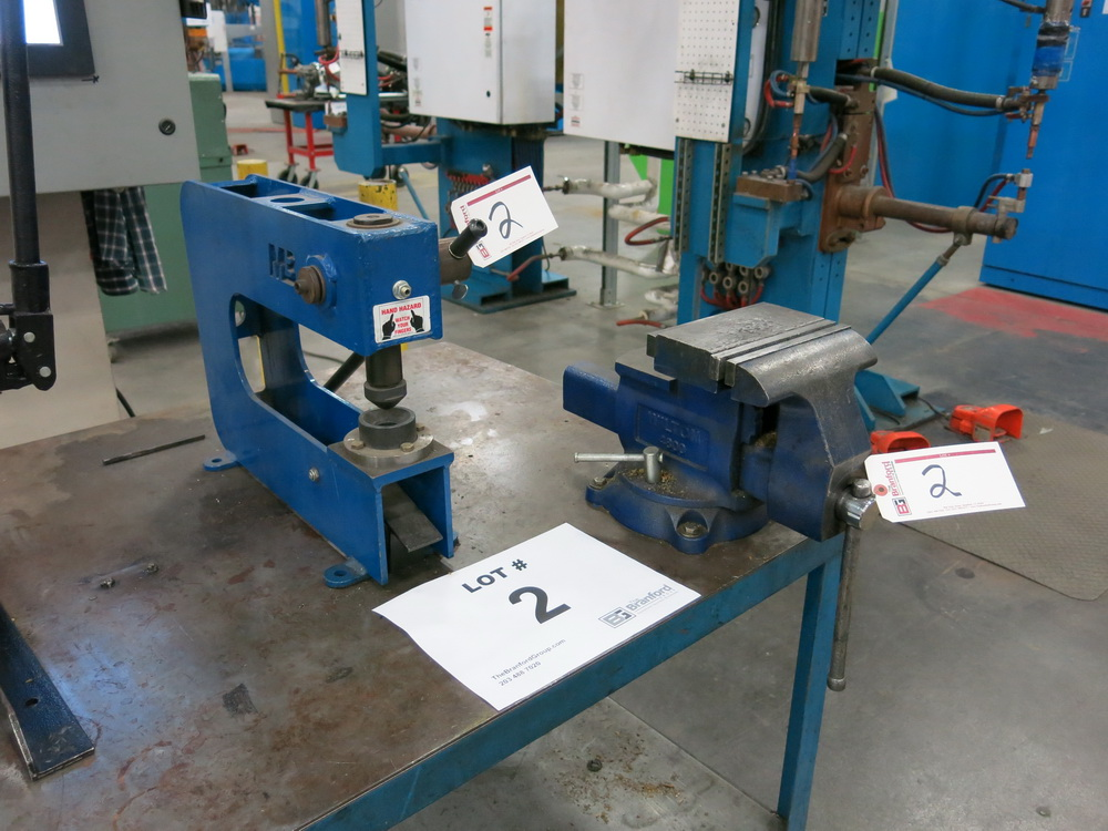 """Mittler Bros. Manual Hand Held Press, (1) Approx.. 8"""" Benchtop Vise w/ Steel Table"""
