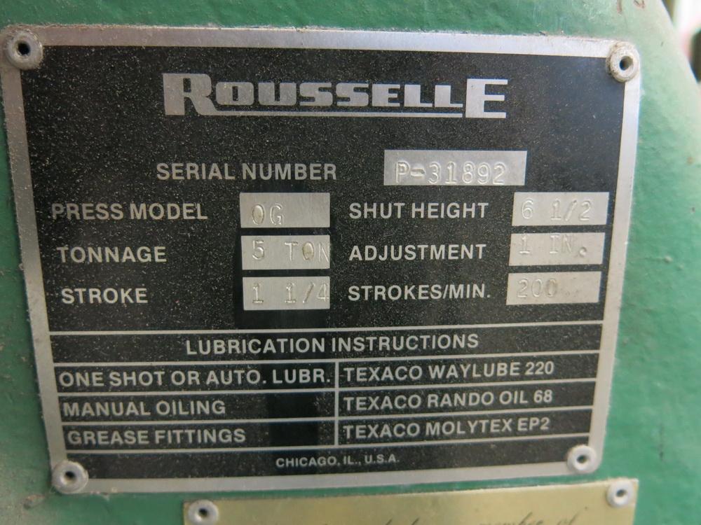 """Rousselle Model OG 5-Ton OBI Press, 1 1/4"""" Stroke Press - Image 2 of 2"""
