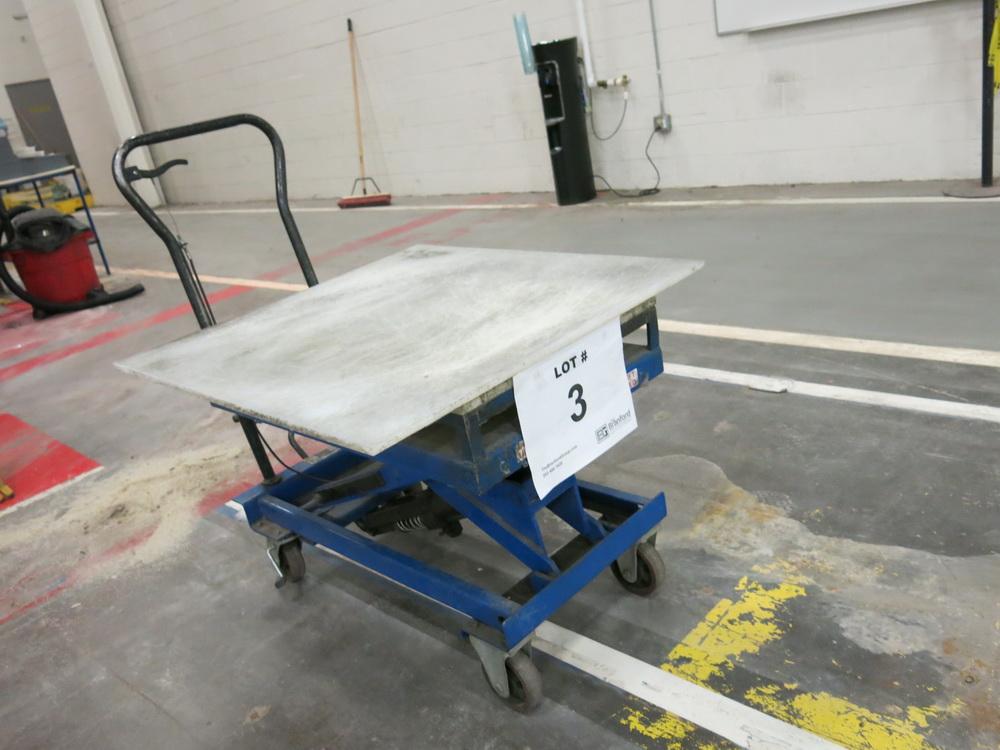 Lift Table, 1100 lb Cap. Hydraulic Die Lift Cart w/ Polypropylene Top